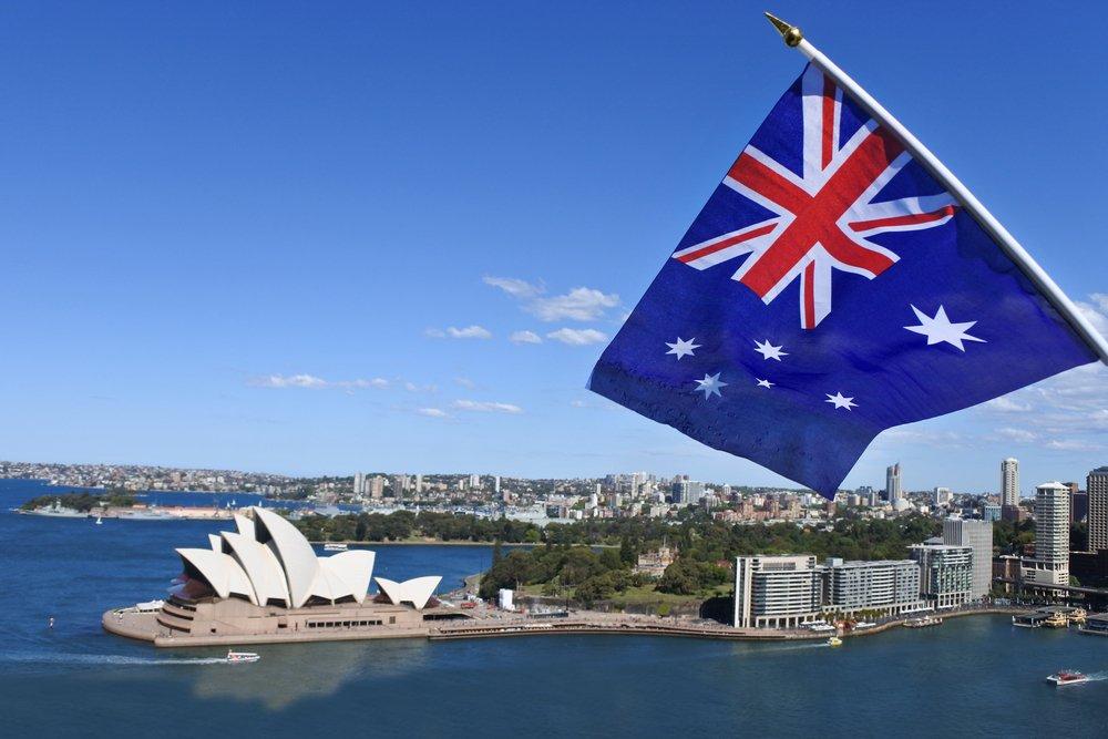 Australia Flag Sydney Harbor