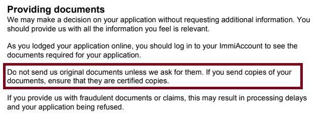 certified copies 186 visa application